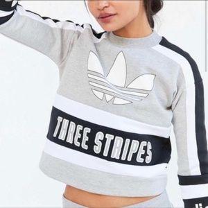 Adidas Logo Crop Sweatshirt Three Stripe Logo